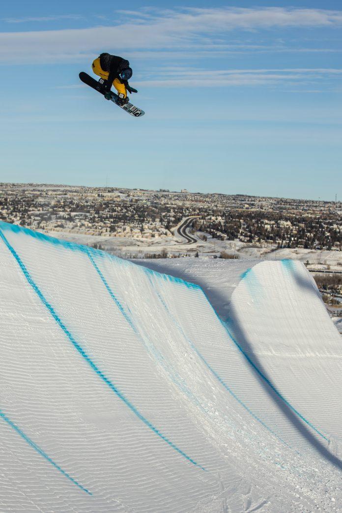 Snowboarder Liam Brearley does tricks in Austria