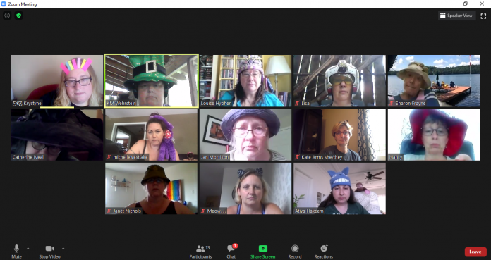 Silly hat hour during the 2020 Muskoka Novel Marathon, which was held virtually due to the pandemic