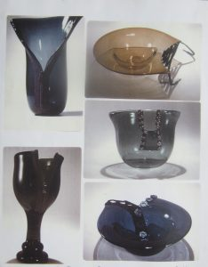 Solo exhibition 1974 - pieces of hot blown glass Sheridan College, titled 'Statement of Process'.