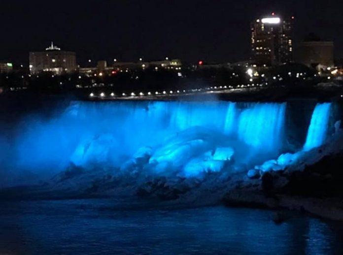 Niagara Falls lit up blue for apraxia awareness