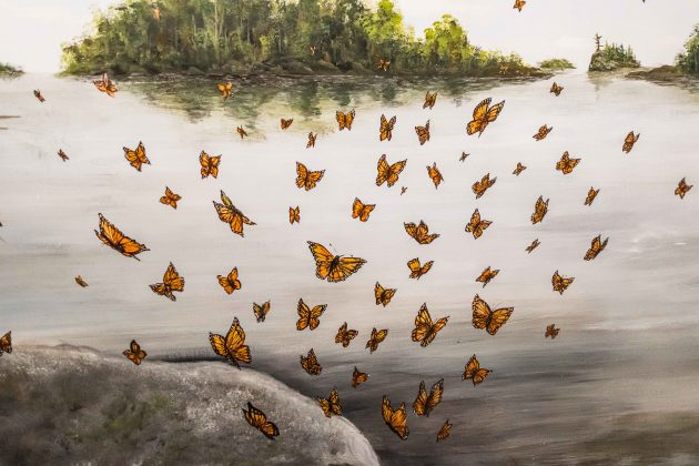 Monarch butterflies in the mural at Andy's House