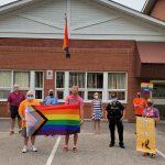 Progress flag raising in Muskoka Lakes. Photo courtesy of Muskoka Pride