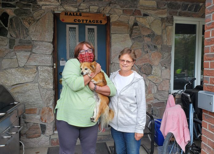 Escaping homelessness: Tammie Swartz and Diane Vanderwal at Hall's Cottages.