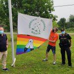 Two-Spirit flag raising in Wahta. Photo courtesy of Muskoka Pride