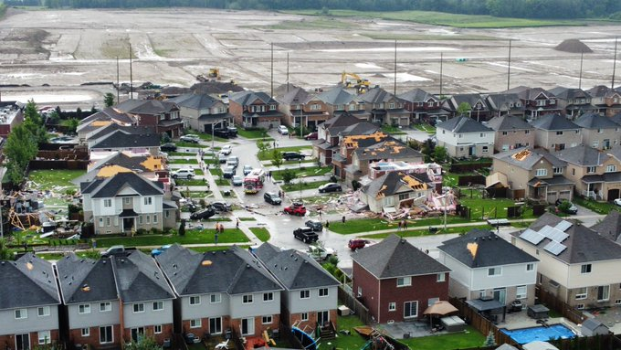 Damage from tornadoes