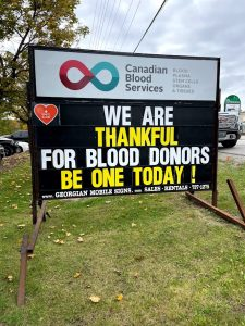We are thankful for blood donors. Be one today!